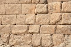 The stone blocks of the Great Pyramid of Egypt. The stone blocks texture of the Great Pyramid of Egypt. A trip to pyramids in Egypt, through the Sahara desert Royalty Free Stock Images