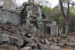Stone blocks of Ta Phrom ruins Royalty Free Stock Photography