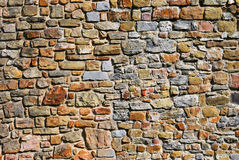 Stone blocks texture. Old stone block wall on a Welsh castle ruins Stock Photography