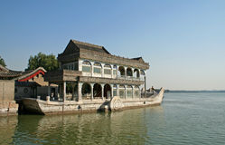Stone boat. Ancient stone boat in the Summer Palace of China Royalty Free Stock Photography