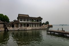 Stone boat at the simmerpalace in Beijing China stock image