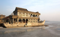 Stone boat in summer palace Royalty Free Stock Photos