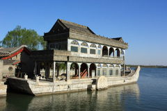 Stone boat in Summer Palace Stock Images