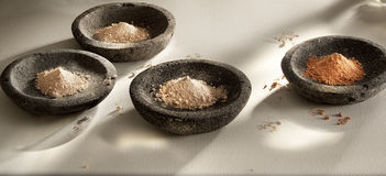 Stone bowls with pigment Stock Photos