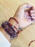 Stone bracelet on hand. Royalty Free Stock Images