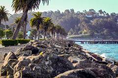 The stone breaker wall on Treasure Island in the San Francisco Bay. Royalty Free Stock Images
