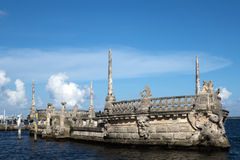 Stone breakwater barge at the Vizcaya Museum. And Gardens on Biscayne Bay in the present day Coconut Grove neighborhood of Miami, Florida Stock Photography