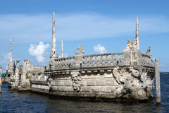 Stone breakwater barge at the Vizcaya Museum royalty free stock photography