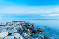 Stone breakwater Royalty Free Stock Photography