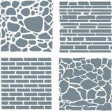 Stone and brick cladding. Vector texture set. Stock Photo