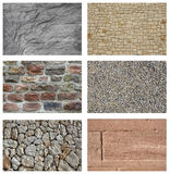 Stone brick collage Stock Photos