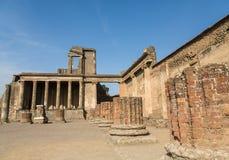 Stone and Brick Columns in Ancient Pompeii Stock Photo
