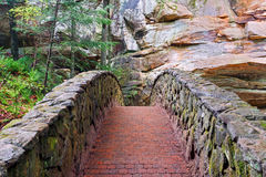 Stone and Brick Footbridge. A stone and brick footbridge in the gorge at Old Man's Cave in Ohio's Hocking Hills State Park Stock Images
