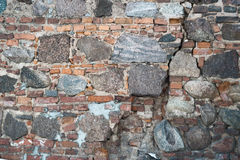 Stone and brick old wall as abstract background. Outdoor photo of brick and stone old wall as abstract texture background Royalty Free Stock Images