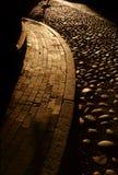Stone & brick paths. Beacon Hill, Boston sidewalk and stone road royalty free stock image
