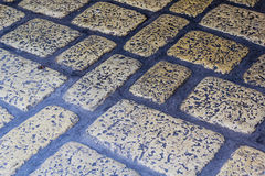 Stone brick pavement at the old door Royalty Free Stock Images