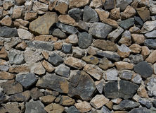 Stone brick wall. Detail of uncemented irregular shaped stone brick wall Royalty Free Stock Photos
