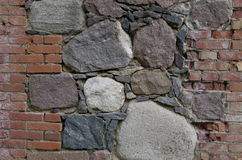 Stone brick wall. Ancient stone and brick wall Royalty Free Stock Image