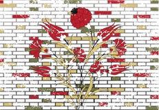 Stone Brick Wall And Ottoman Flower Design Stock Photo