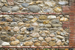 Stone and brick wall as background texture. Close up Royalty Free Stock Photo