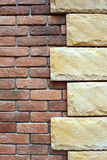 Stone on brick wall background. Stock Images