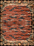 Stone Brick Wall Frame. Stone framing a vertical brick wall background Stock Photos