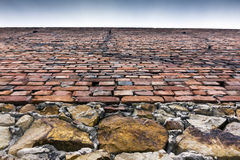 Stone and brick wall of an old building Royalty Free Stock Photo