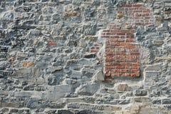 Stone and brick wall. Old stone and brick wall, Montreal, Quebec, Canada Royalty Free Stock Photos