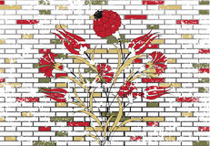 Stone brick wall and ottoman flower design Stock Photo