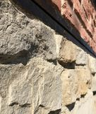 Stone and brick wall perspective clolseup texture background concept. Abstract Royalty Free Stock Photo