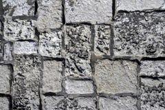 The stone bricks of the big wall. Near the city center stock image