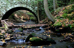 Stone Bridge. Wooded stream under arched stone bridge stock images