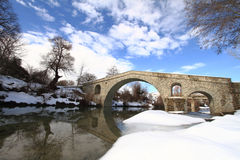 Stone bridge. Over wintry creek Royalty Free Stock Photo