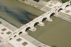 Stone bridge. Areal view of stone bridge on Vardar river Skopje - Macedonia Stock Images