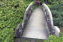 Stone bridge. Stone arch bridge in fresh summer garden Stock Image
