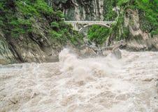Stone bridge across the canyon Royalty Free Stock Photo