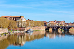 Stone Bridge across Garonne, Toulouse. Pont (Bridge) Neuf (XVII c.) across Garonne in Toulouse, France Stock Photos