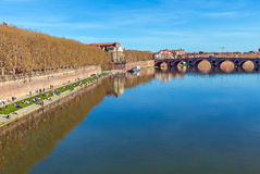 Stone Bridge across Garonne, Toulouse. Pont (Bridge) Neuf (XVII c.) across Garonne in Toulouse, France Royalty Free Stock Photography