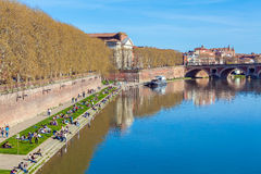 Stone Bridge across Garonne, Toulouse Royalty Free Stock Photography