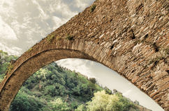 Stone bridge. Ancient stone bridge clody sky Stock Photography