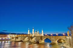 Stone Bridge ande Ebro River at Zaragoza, Spain Royalty Free Stock Image