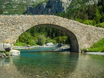Stone bridge in the Aragonese Pyrenees. A tourist place in the Ordesa National Park Stock Photography