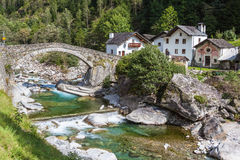 The stone bridge in Arvigo Royalty Free Stock Images