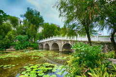 Stone bridge in an Asian garden. At day Royalty Free Stock Photography