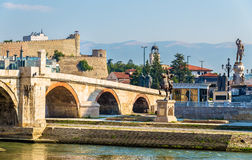 The Stone Bridge and associated monuments in Skopje Royalty Free Stock Images