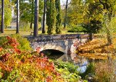 Stone bridge autumn park Royalty Free Stock Photo