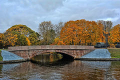 Stone bridge in autumn Stock Photo