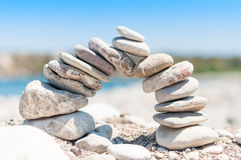 Stone bridge balance. Abstract demonstration of balance and stability Stock Images