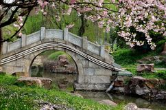 Stone bridge. In a beautiful chinese garden Royalty Free Stock Photo