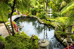 Stone Bridge in a Beautiful Garden at Monte above Funchal Madeira. This wonderful garden is at the top of the cablecar from the seafront in Funchal. It is filled Royalty Free Stock Photos